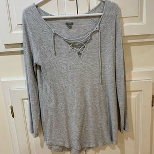 Arie long sleeve cozy lace up shirt